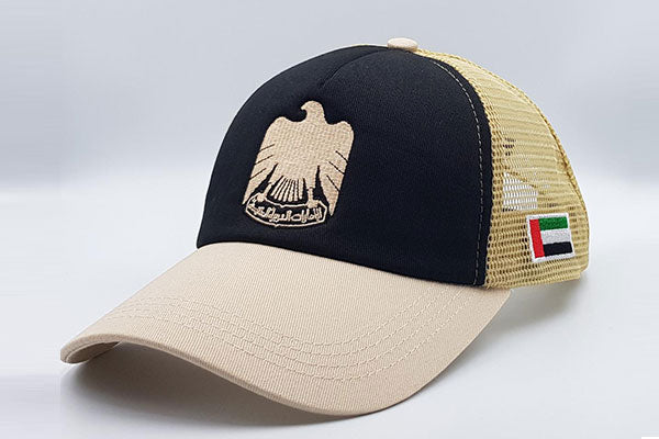 The UAE official emblem cap black/beige sidelong view