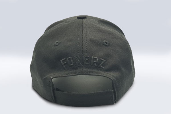 Plain black Foxerz cap rearward view