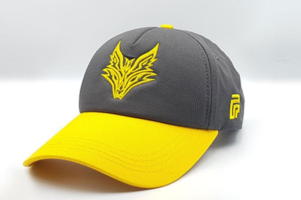 Fox logo cap Grey/Yellow sidelong view