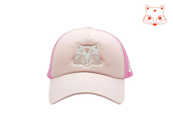 Foxerz Caps for girls - fox doodle pink cap frontal view