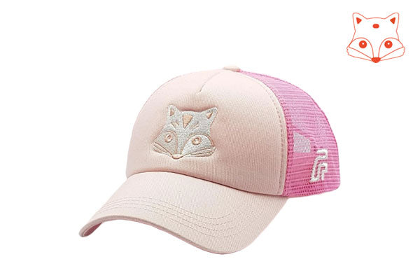 Foxerz Caps for girls - fox doodle pink cap sidelong view