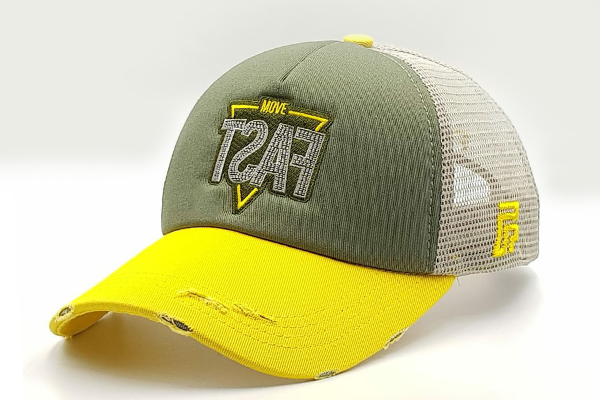 foxerz cap Gray/ Yellow MOVE_FAST sidelong view