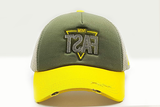 foxerz cap Gray/ Yellow MOVE_FAST frontal view