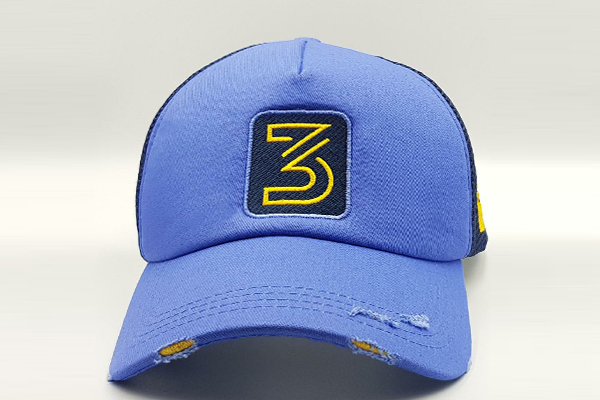 Number 3 foxerz cap blue frontal view