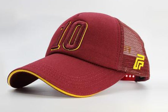 Number 10 cap maroon sidelong view