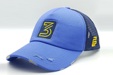 Number 3 foxerz cap blue sidelong view