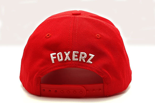 Number 1 foxerz cap red rearward view