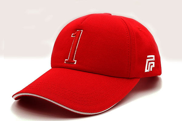 Number 1 foxerz cap red sidelong view