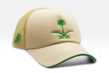 Foxerz's beige & green emblem of Saudi Arabia cap sidelong view