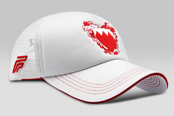 Foxerz's white & red coat of arms of Bahrain cap sidelong view
