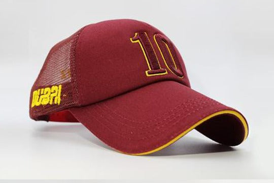 Number 10 cap maroon other sidelong view