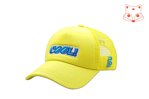 Foxerz Cap for Kids Cool yellow cap sidelong view