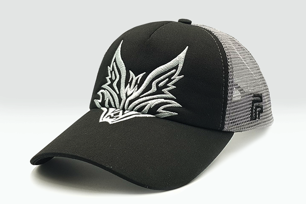 The Extended Fox Logo black cap sidelong view