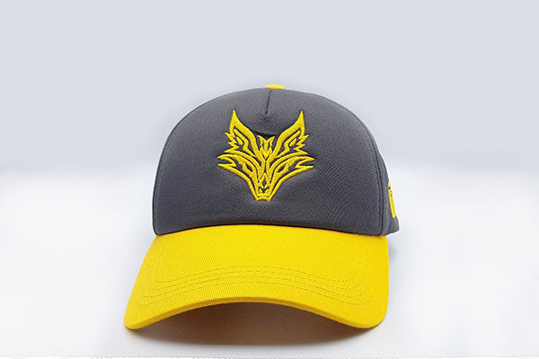 Fox logo cap Grey/Yellow frontal view