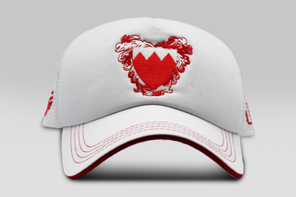 Foxerz's white & red coat of arms of Bahrain cap front-side view