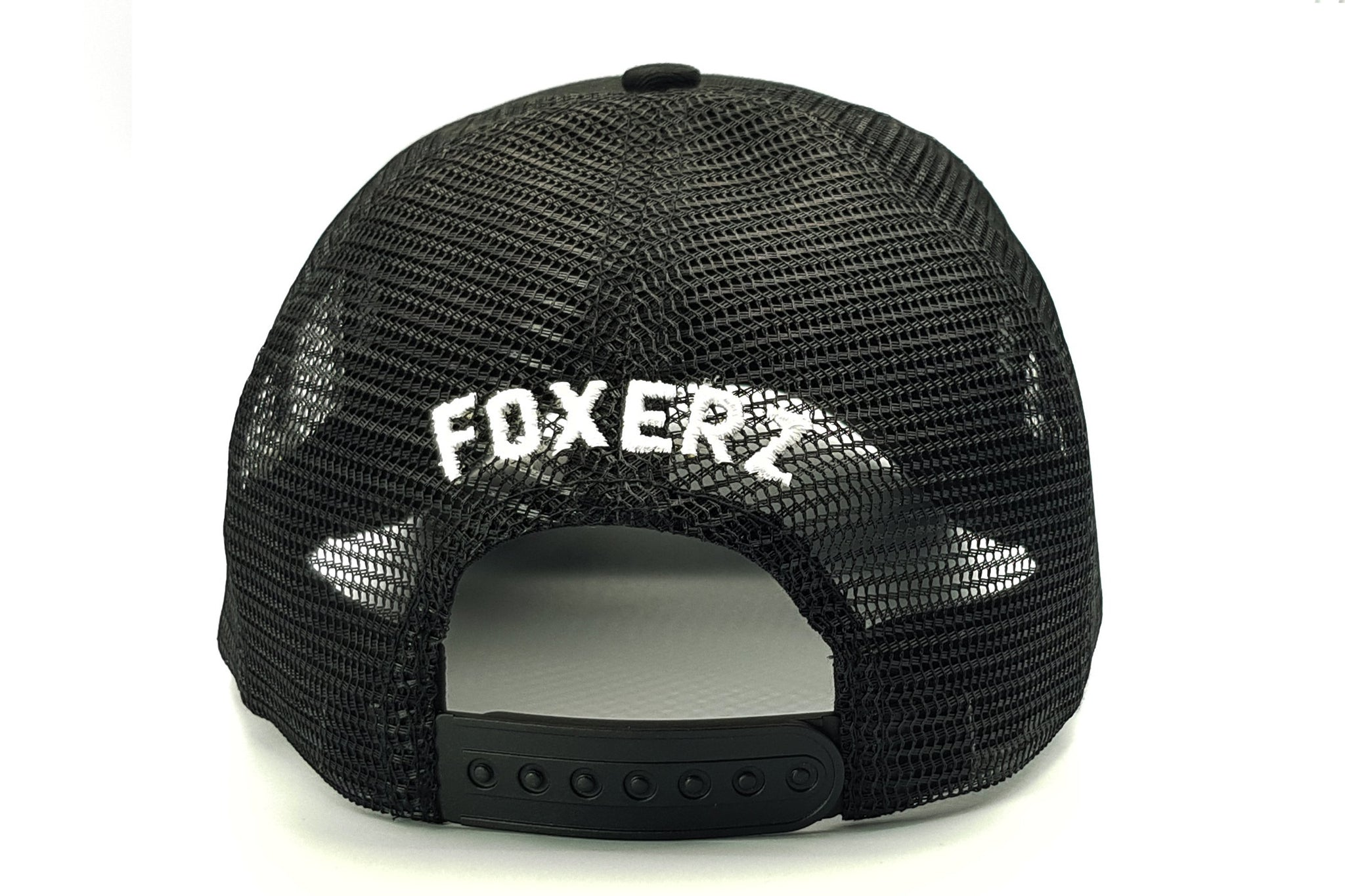 Foxerz logo black cap rearward view