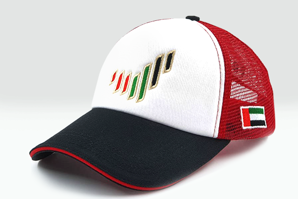 The UAE nation brand multicolored cap sidelong view