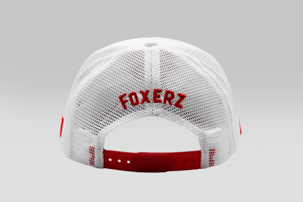 Foxerz's white & red coat of arms of Bahrain cap back-side view