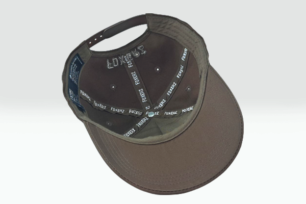 Plain brown Foxerz cap overturned view