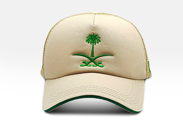 Foxerz's beige & green emblem of Saudi Arabia cap front-side view
