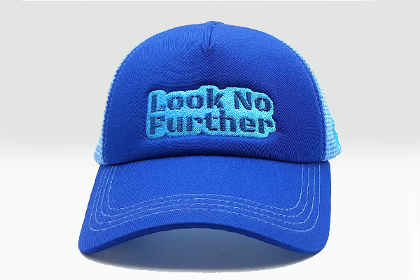 Foxerz cap blue Look_No_Further frontal view