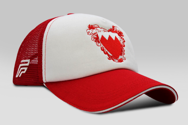 Foxerz's red & white coat of arms of Bahrain cap sidelong view