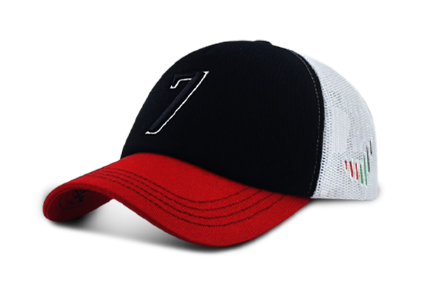 Cap 7 - Black& Red& White | Large