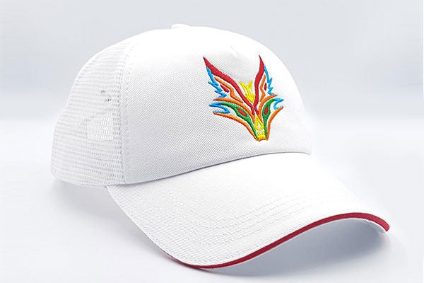 Fox logo white cap other sidelong view
