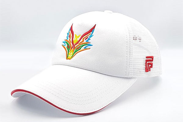 Fox logo white cap sidelong view