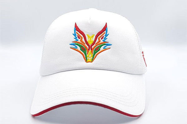Fox logo white cap frontal view