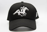 foxerz black horseman cap front-side view