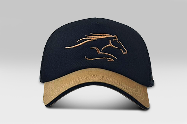 Race Horse Cap - black and  gold | Large
