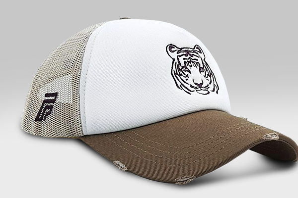 The Tiger Cap - Biege & White | Large