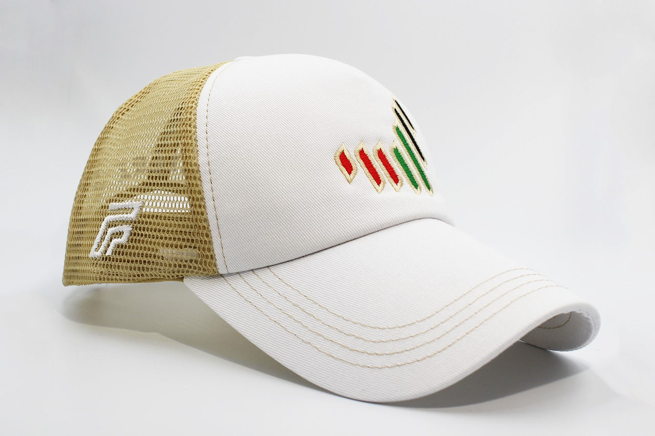 The UAE nation brand white/gold cap other sidelong view