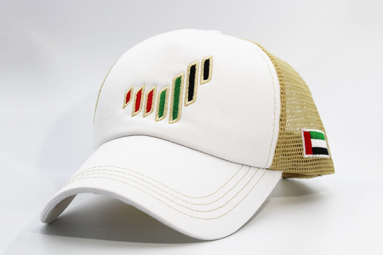 The UAE nation brand white/gold cap sidelong view