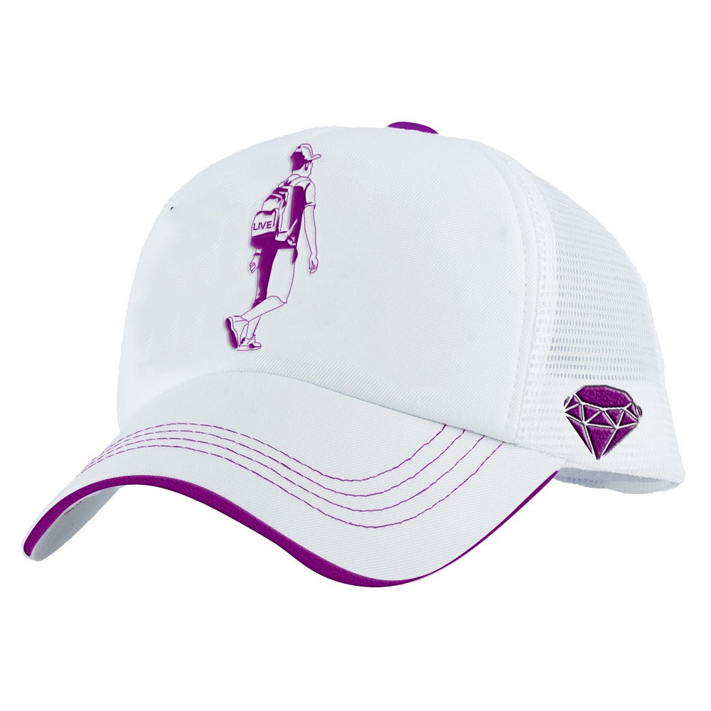 purple white boy cap