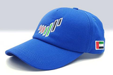 The UAE nation brand blue cap sidelong view