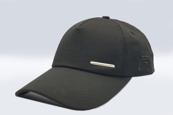 Plain black Foxerz cap sidelong view