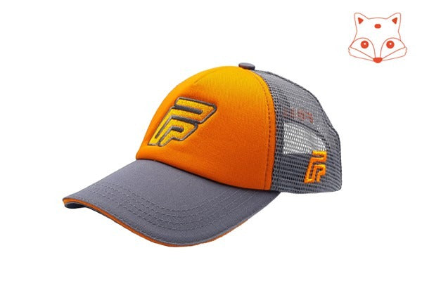 Caps for kids - Foxerz logo orange/grey cap sidelong view