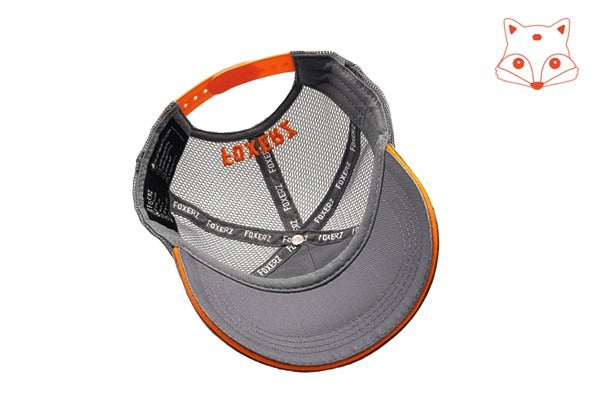 Caps for kids - Foxerz logo orange/grey cap overturned view