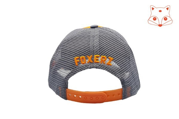 Caps for kids - Foxerz logo orange/grey cap rearward view