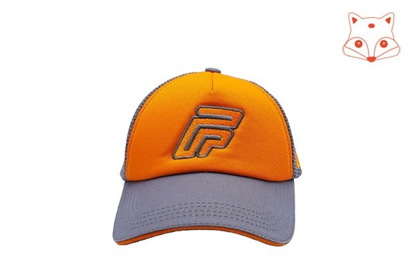 Caps for kids - Foxerz logo orange/grey cap frontal view