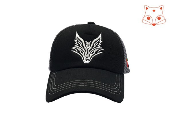 Foxerz Caps for boys - fox logo black cap frontal view