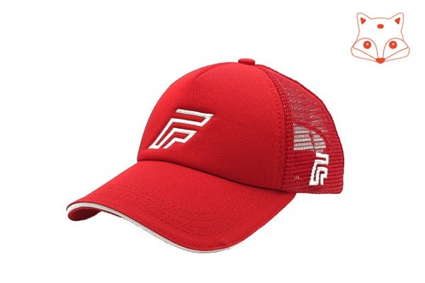 Caps for kids - Foxerz logo red cap sidelong view