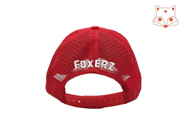 Caps for kids - Foxerz logo red cap rearward view