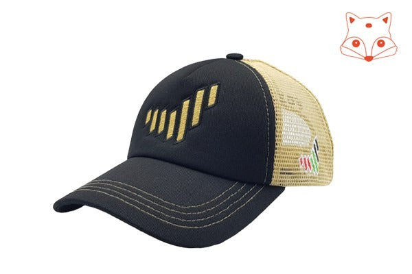 Foxerz caps for kids - The UAE nation brand black/gold cap sidelong view