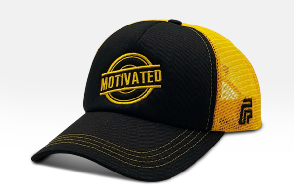 Foxerz's black & yellow Motivated cap sidelong view