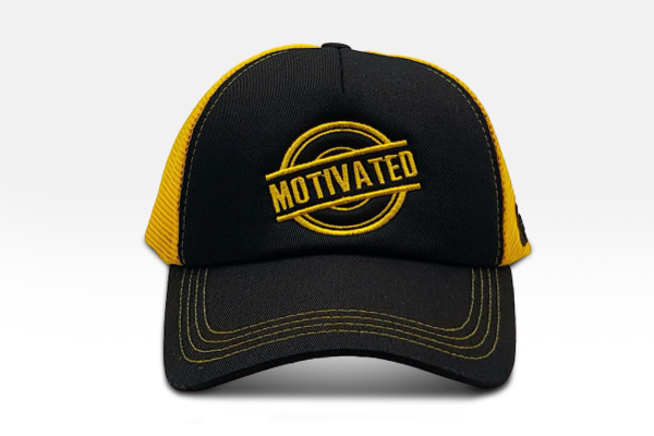 Foxerz's black & yellow Motivated cap front-side view