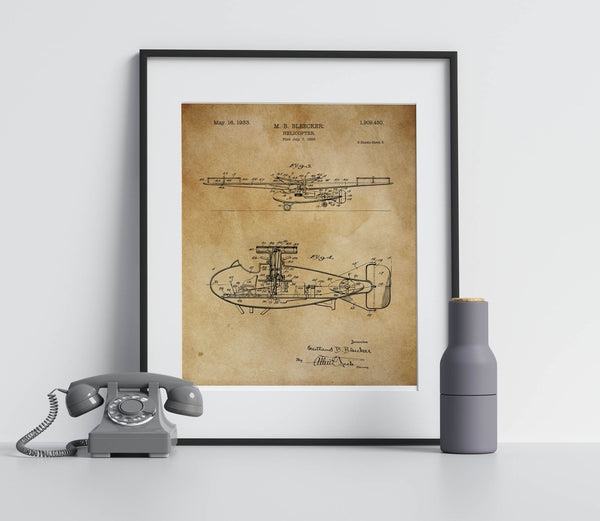 Vintage Helicopter Poster