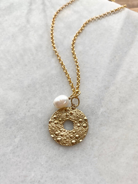 MADE IN Jewelry - Urchin Disk With Fresh Water Pearl Necklace